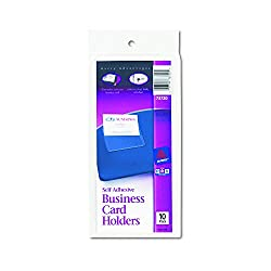 Avery Self-adhesive Top-load Business Card Holders, 3.5 X 2 Inches, Clear, 10 Per Pack (73720)