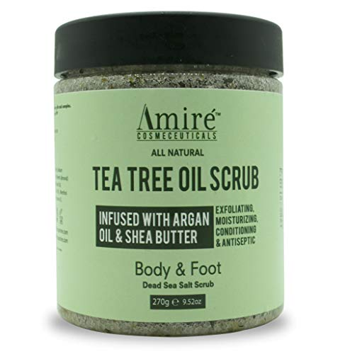 Anti-Fungal Tea Tree Oil Exfoliating Body & Foot Scrub with Dead Sea Minerals | Best for Acne, Dandruff, Athlete's Foot | Infused with Argan Oil & Shea Butter to Moisturize - 12oz