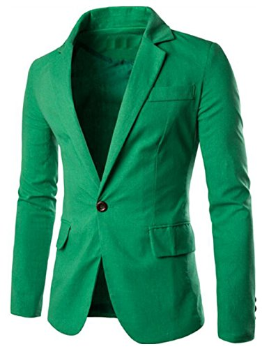 Generic Mens Casual One Button Slim Fit Blazer Jacket Business Suit Green US L