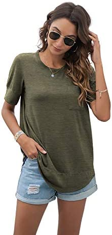 HIYIYEZI SUMMER TOPS FOR WOMEN SHORT SLEEVE SIDE SPLIT CASUAL LOOSE TUNIC TOP WITH POCKET