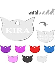 Iberiagifts - Placa en Forma de Cara de Gato para Gatos de Todas Las Edades Chapa Medalla de identificación Personalizada para Collar Perro Mascota grabada (Plateado)