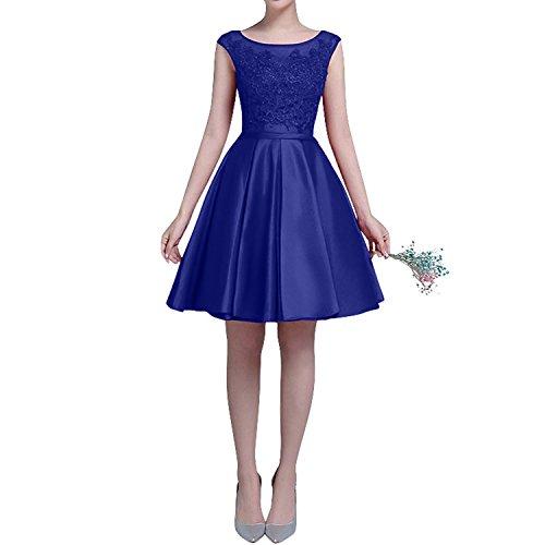 Partykleider Charmant Satin Spitze Einfach Blau Abendkleider Festlichkleider Knielang Royal Jugendweihe Kleider Damen Kurzarm aa8wHxnq4