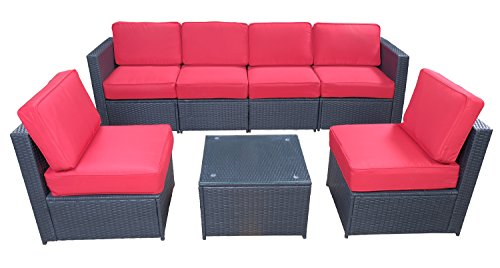 Mcombo Black Patio Furniture Sectional Set Outdoor Wicker Conversation Sofa with 6 Chairs Coffee Table Weather-Resistant Cushion Cover 7PCS Red