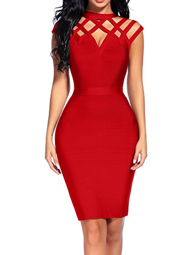 Madam Uniq Women's Bandage Mini Dress Sleeveless High Neck Hollow Out Club Dresses (XL, - Homecoming Dresses Tight