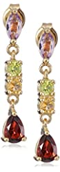 Yellow Gold Plated Sterling Silver Multi-Gemstone Earrings