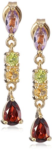 18k Yellow Gold Plated Sterling Silver Genuine Multi Gemstone Dangle Earrings ()