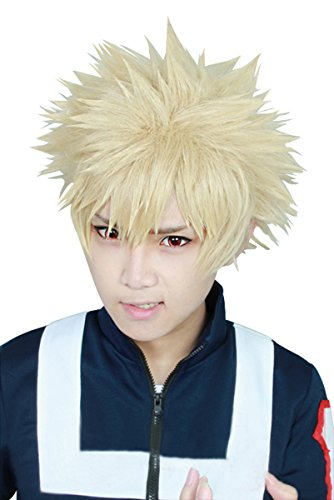 Price comparison product image Cfalaicos 11.8'' Short Layered My Boku no Hero Academia Bakugou Katsuki Short Costume Full Lace Cosplay Wig (Need Style by Yourself)