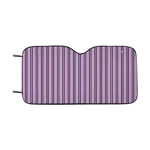 """Geometric Durable Car Sunshade,Pale Colored Stripes with Vertical Borders Ornate Line Art Illustration Decorative for car,55""""L x 30""""W"""