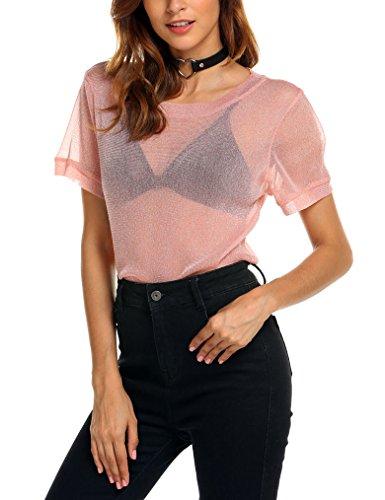 (Qearal Women's Sexy Glitter Mesh Sheer See Through Short Sleeve Tee Shirt Tops Blouse (L, Pink))