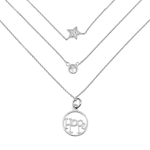 blackbox Jewelry Sterling Silver 3 Layered White Cubic Zirconia Hope Star Charm Unique Pendant ()