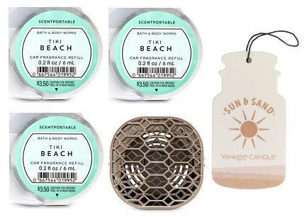 Bath and Body Works Geometric Vent Clip Car Fragrance Holder and 3 Scentportable Tiki Beach. Paperboard Car Fragrance Sun & Sand. (Tiki Vent)