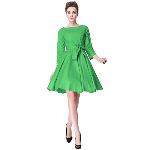 Heroecol 50s 60s Hepburn 3/4 Sleeve Style Vintage Retro Swing Rockailly Dresses Size M Color - Cosplay Green Dress