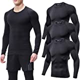 Lavento Men's 3-Pack Compression Shirts Crewneck Long-Sleeve Moisture-Wicking Workout Shirts