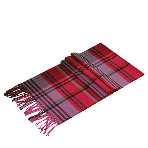 Lucky Leaf Women Men Warm Winter Soft 100% Wool Tartan Plaid Scarf Wrap (Hot Pink Plaids)
