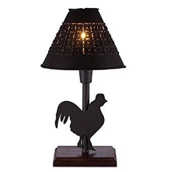 Small Metal Rooster Table Lamp With Punched Tin Shade