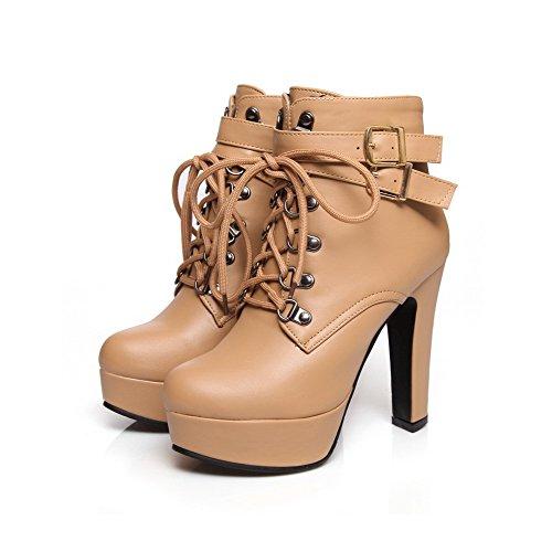 AllhqFashion Womens Zipper Round Closed Toe High Heels PU Low-top Boots Apricot EJqdu