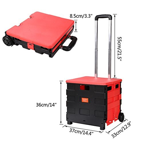 Folding Two-Wheeled Trolley Hand Cart Plastic Hefty Heavy Carry Shopping Travel Casual Handcart with Lid [US STOCK] by Cosway