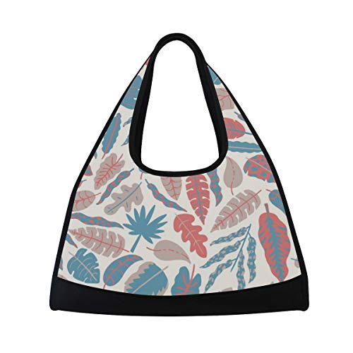 HUVATT Gym Bag Hipster Leaf Women Yoga Canvas Duffel Bag Sports Tote Bags for Girls -