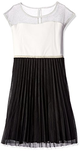 Speechless Girls Plus Size' Illusion Neck Slv Mesh Bottom Dress, Ivory/Black, 18.5