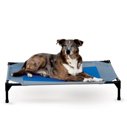 K&H Manufacturing Coolin' Gel Pet Cot Large Gray/Blue 30-Inch by 42-Inch