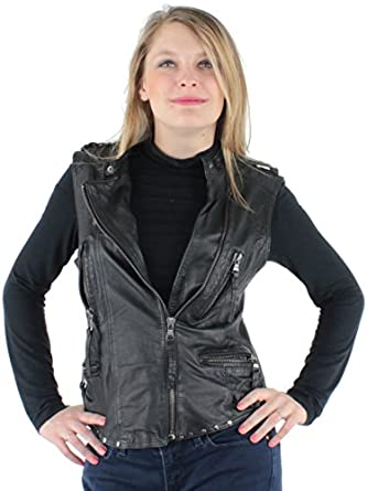 3bb0a6cd73e Oakwood - Gilet sans manche Louisiana en cuir mouton ref cco34486-noir - XL