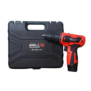 iBELL Cordless Drill Driver CD12-74, 12-Volts, 2 Battery+BMC Box 10