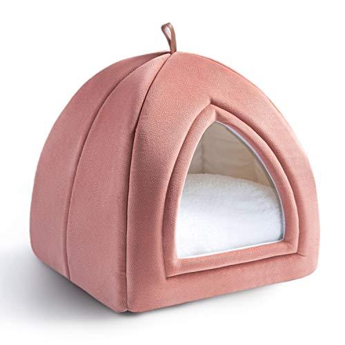 BedsureKatzenhöhlefürgroßeKatzen–KatzenbettwaschbargraumitsuperweichemflauschigemSherpaInnerkissenAbwaschbarL35xB35xH38cm, Rosa
