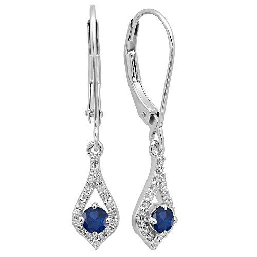 (10K White Gold Round Blue Sapphire & White Diamond Ladies Dangling Drop Earrings)