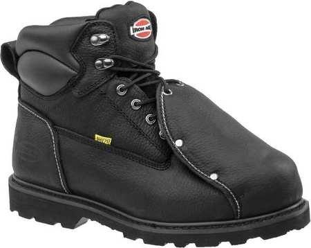 Work Boots, Stl Toe, Met Guard, 9-1/2W, - Black Stl Toe Boots