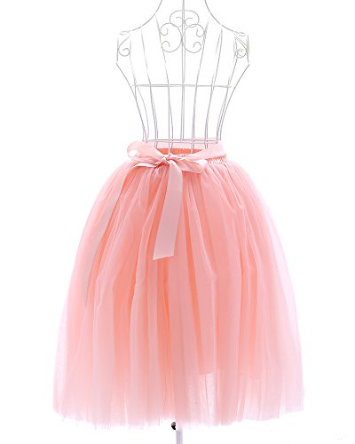 Women's Tulle Tutu Princess Skirt Pleated Midi/ Knee Length Wedding Party Skirts (Peach) (Princess Peach Costume Toddler)