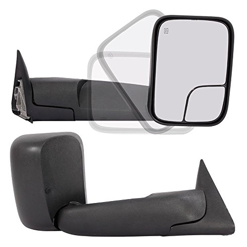 Pair Set Dodge Towing Mirrors for 98-01 Dodge Ram 1500 | 98-02 Dodge Ram 2500 3500 Truck Power Heated Flip Up Extendable Side Tow Mirrors with Support Brackets