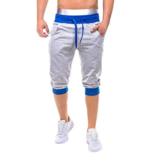 (LOOKAA Men Casual Elastic Joggings Sport Solid Baggy Pockets Short Pant Trousers Blue)