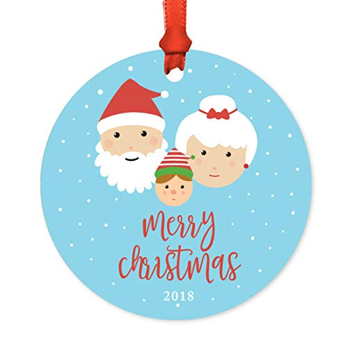 Andaz Press Rround Metal Christmas Ornament, Merry Christmas 2019, Santa Mrs. Claus with Elf, 1-Pack, Includes Ribbon and Gift Bag -  APP12219