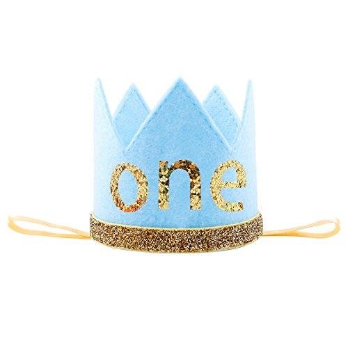 Baby Girl Boy Half 1/2 First Birthday Crown Party Cake Smash Headband Hair Accessories Blue One