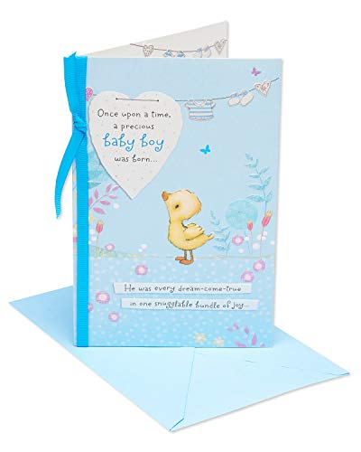 American Greetings Snuggable Bundle of Joy New Baby Boy Congratulations Greeting Card with Ribbon (Congrats Message For New Born Baby Boy)