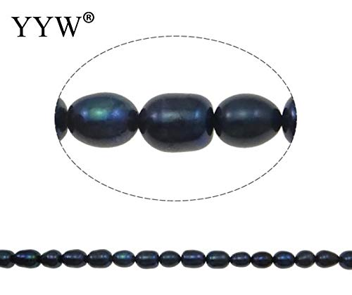 Calvas Wholesale Cheap Price Rice Cultured Freshwater Pearl Beads Natural Black for Making DIY Jewelry Bracelet Necklace Earrings