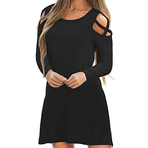 DongDong✫2019 Off Shoulder Mini Dress,Women Casual Solid Cross Long Sleeve Paty Dress