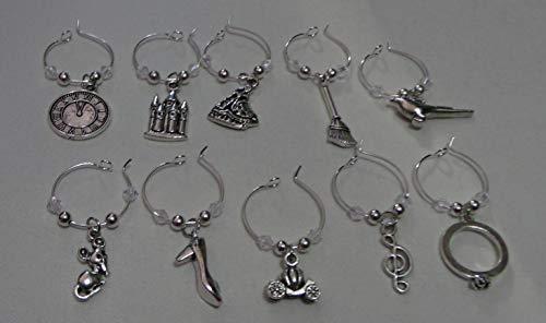 Wine Charms ~ Cinderella Pumpkin Coach, Princess Castle High Heel Wine Charms Wine Glass Marker Set of 10 (Handmade Style 1)