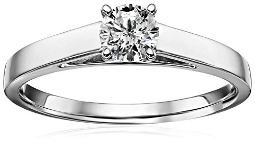 14k White Gold Round Cathedral Solitaire Diamond Ring (1/2 cttw, H-I Color, I2-I3 Clarity), Size (14k Cathedral Solitaire)