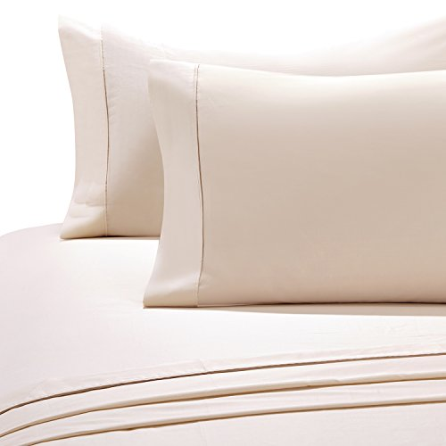 Queen 600 Thread - HollyHOME 100% Cotton Hotel Collection 4 Pieces 600 Thread Count Deep Pocket Bed Sheet Set, Queen Size, Natural