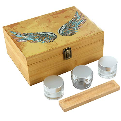 Ornate Ocean Handmade XLarge Stash Box Combo – Storage for Herbs and Accessories | 100% Bamboo | Includes Grinder + 2 Stash Jars | Removable Dividers | (Wings or Mandala or Lion King)