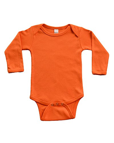 - PandoraTees Infant Long Sleeve Bodysuit (0-3m, Orange)
