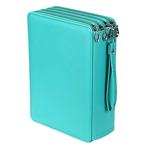 (BTSKY New Deluxe PU Leather Pencil Case for Colored Pencils - 200 Slots Pencil Holder r with 4 Layers Green)