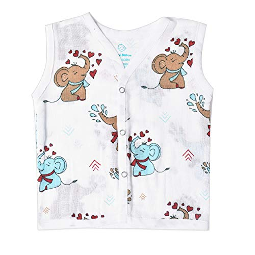 The Boo Boo Club Extra Soft Organic Cotton Muslin Jhabla for Born Baby (Set of 4). GOTS Certified