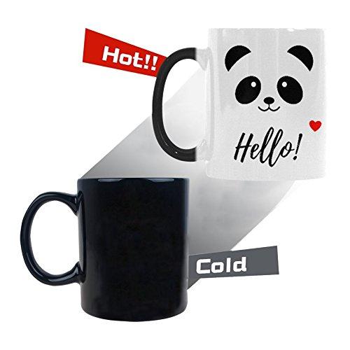 InterestPrint Cute Animal Bear Panda Smiling Face with Hello and Love Heart Heat Sensitive Mug Color Changing Mug (Panda Face Mug)