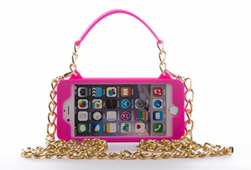 iPhone 6 Plus Case / iPhone 6s Plus Purse Case 5.5 inch display pursecase Smartphone Case Wristlet Clutch and Crossbody Chain with Wallet Purse Case Bundle as seen on Shark Tank (Pink with Gold)