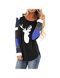 FarJing Womens Christmas Casual Loose Lightweight Tunic Sweatshirt T-Shirt Pullover