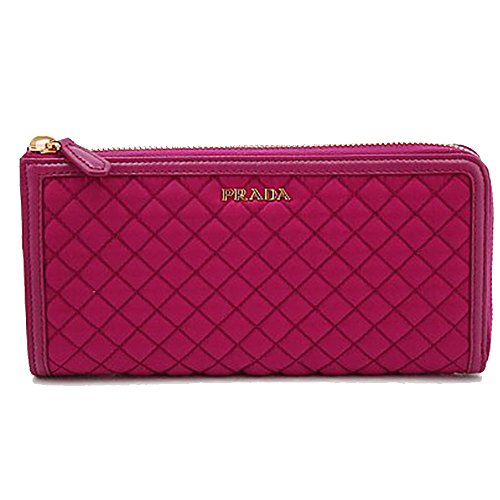 Prada 1M1183 Wallet in Stitched Quilted Pattern Pink Leather and Nylon
