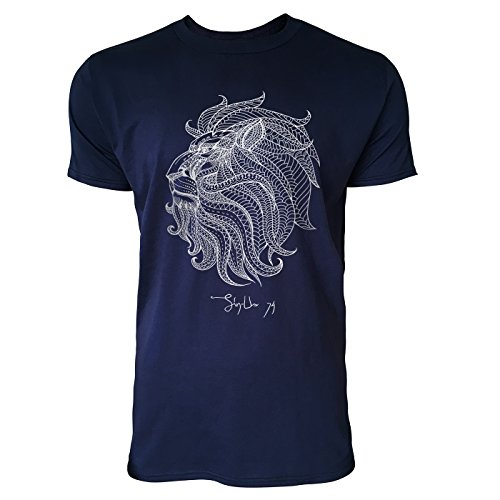 SINUS ART ® Löwenkopf mit Ornamenten Herren T-Shirts in Navy Blau Fun Shirt mit tollen Aufdruck