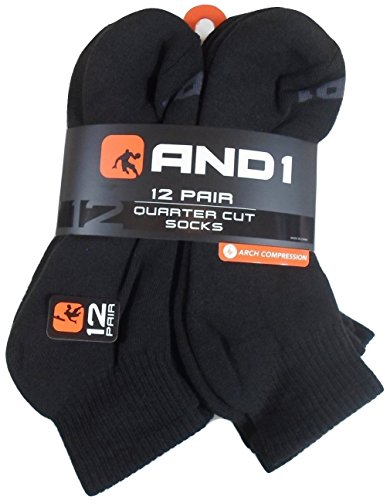12 PAIRS AND1 Black Quarter Cut Socks Mens Size